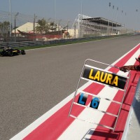 Laura racing the MRF Car at Bahrain